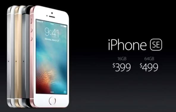 Цена iPhone SE, объявленная на презентации