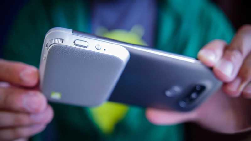 Модуль для LG G5 с дополнительным аккумулятором и органами управления камерой