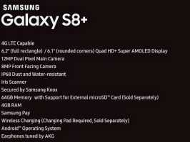Новая утечка раскрыла все характеристики Samsung Galaxy S8+