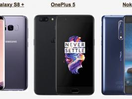 Samsung Galaxy S8+ vs OnePlus 5 vs Nokia 8